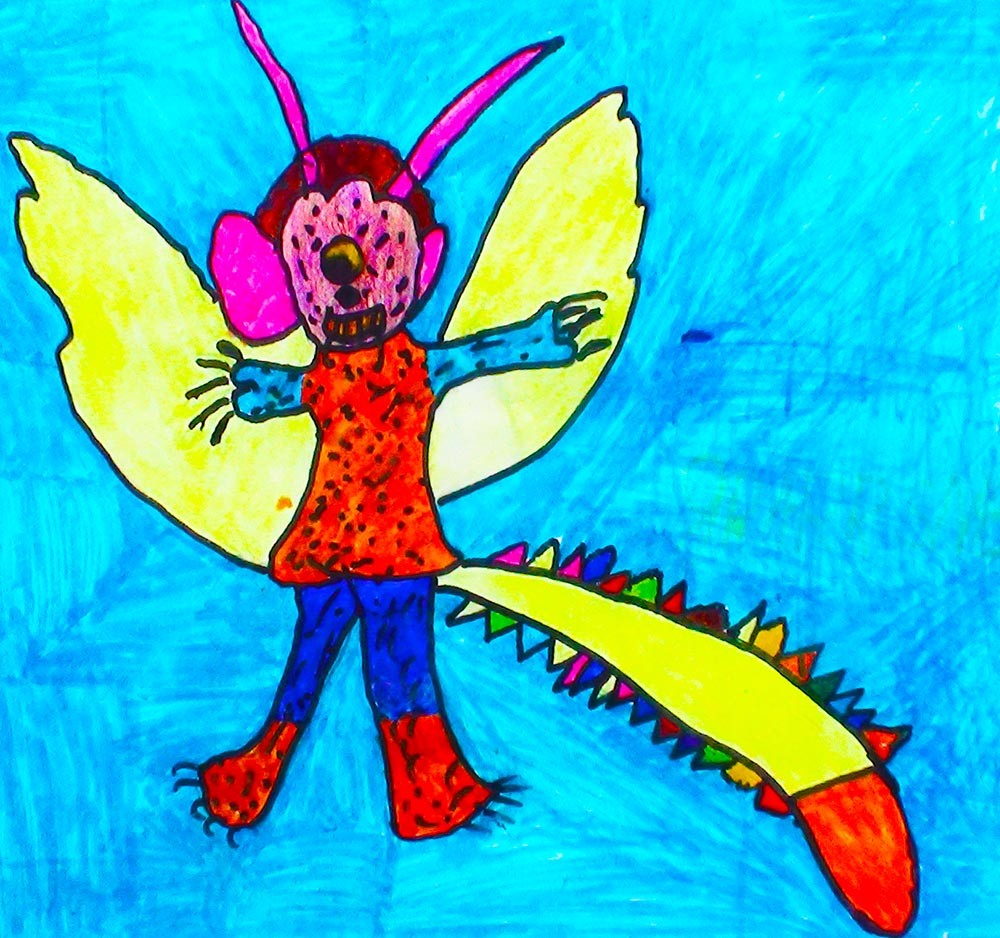 <h5>Bidangerous Garrsnaw</h5><p>It has two horn and one eye. It has big nail two wings and his name Bidangerous Garrsnaw and it has tail its look like monster. He becomes angry.</p>
