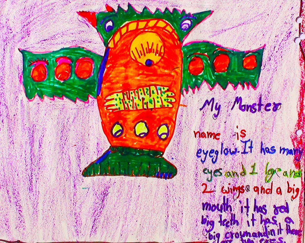 <h5>Eyeglow</h5><p>My monster name is eyeglow. It has many eyes and 1 leg and 2 wings and a big mouth it has red big teeth it has a big crown and in it there are two eyes.</p>