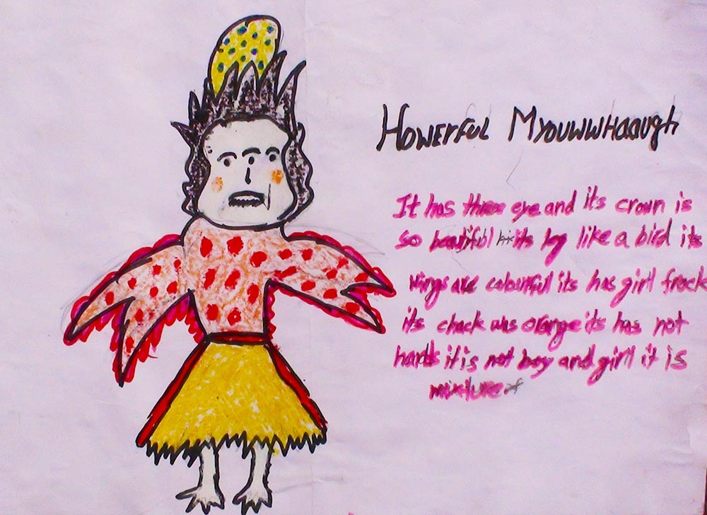 <h5>Howerful Myouwwhaaugh</h5><p>It has three eyes and it's crown is so beautiful. It's leg like a bird, it's wings are colourful. It has girl frock its chack was orange it has not hands it is not boy and girl it is mixture</p>